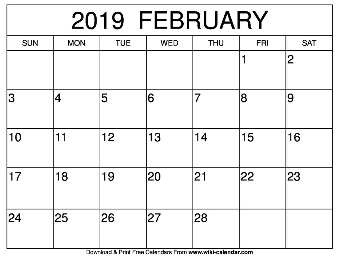 Blank Calendar 2019 February