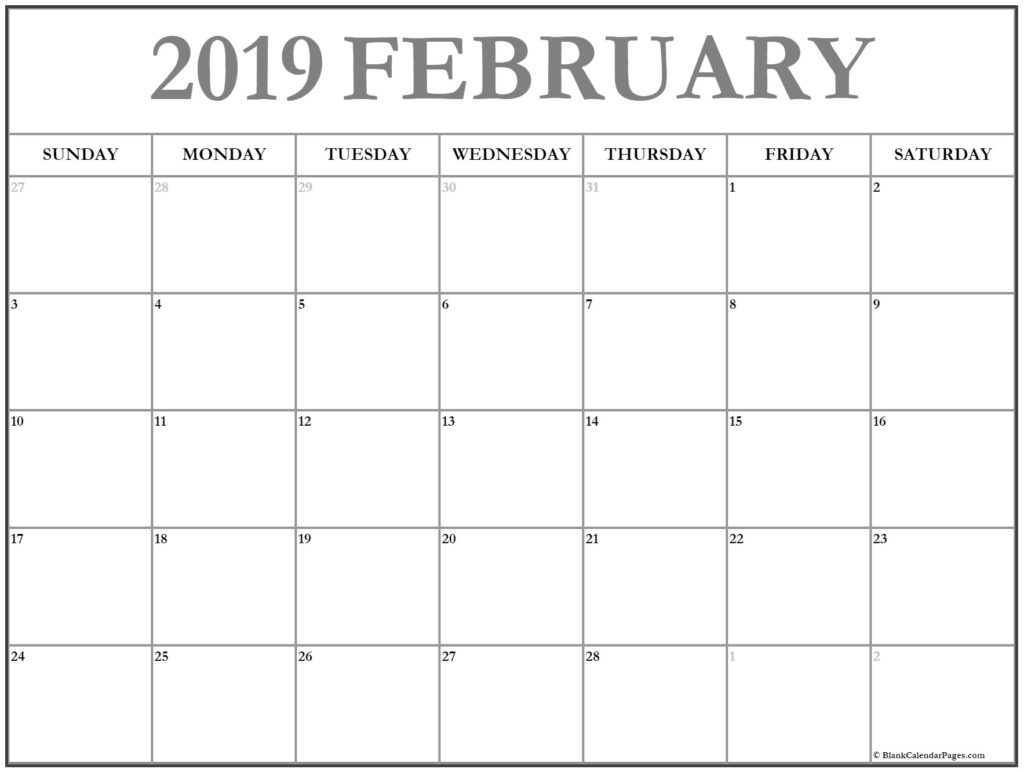 Blank Calendar February 2019 Printable