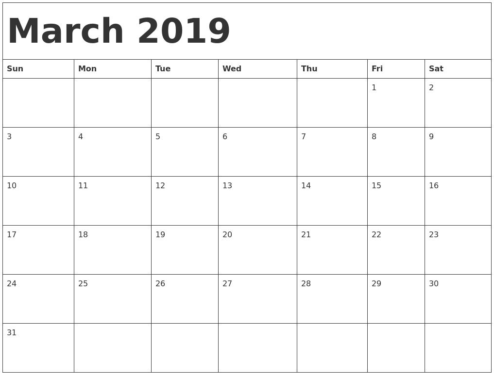 Blank Calendar March 2019 Printable