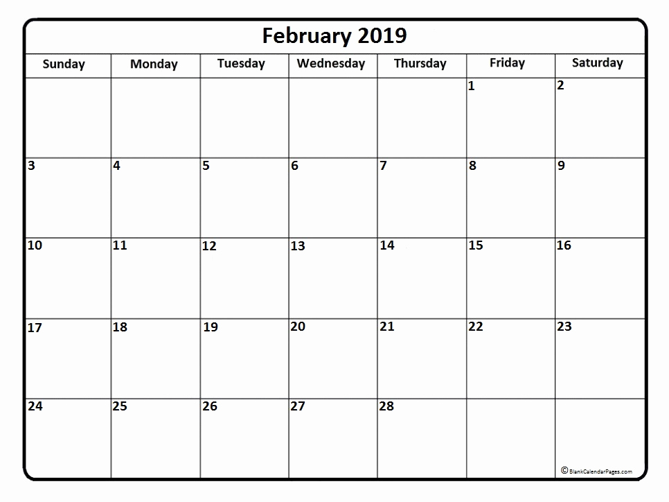 Blank Calendar of February 2019