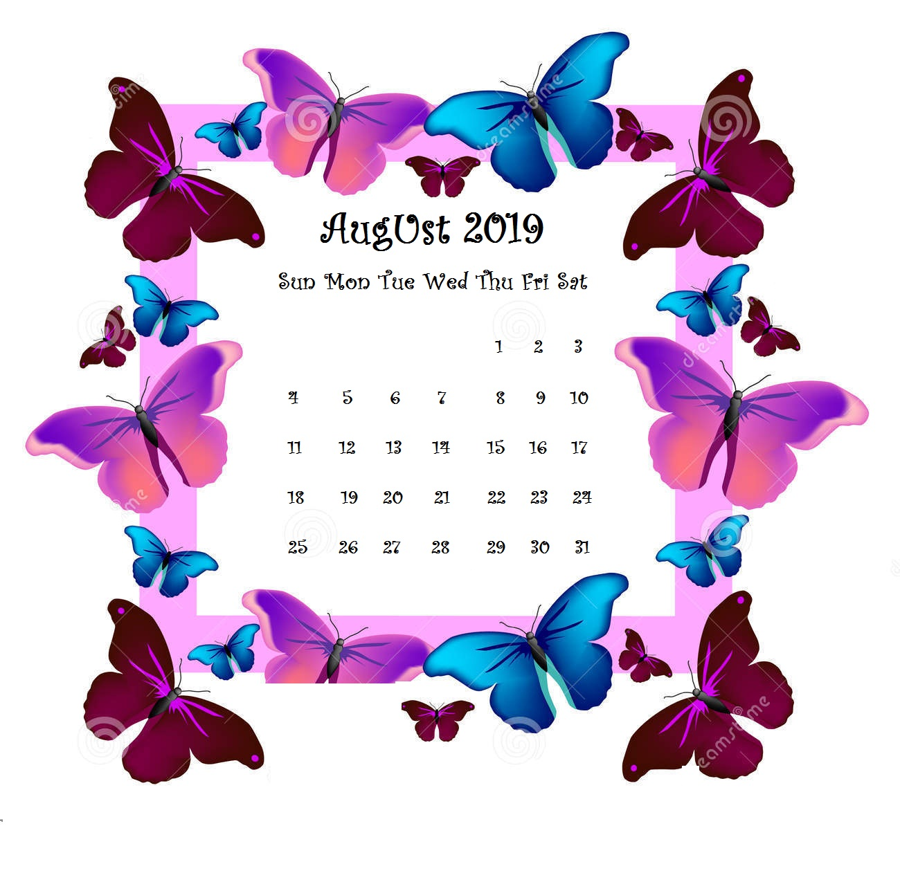 Butterfly Background August 2019 iPhone calendar