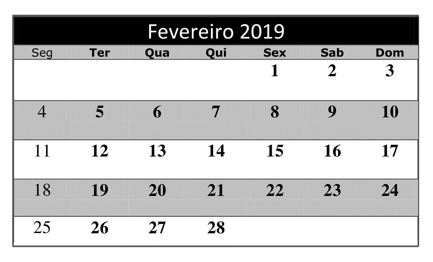 Calendário 2019 Fevereiro Estilos