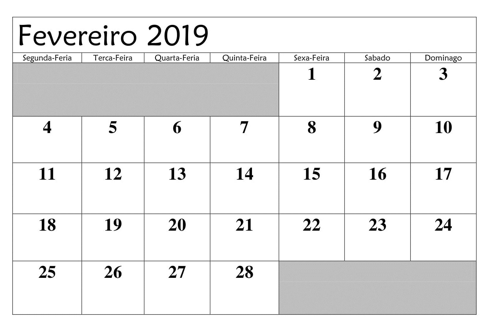 Calendário 2019 Fevereiro Gratis