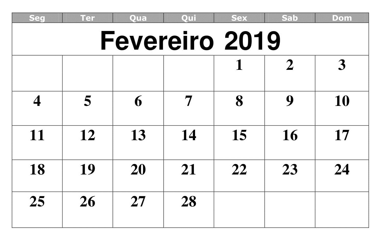 Calendário 2019 Fevereiro Mensuel
