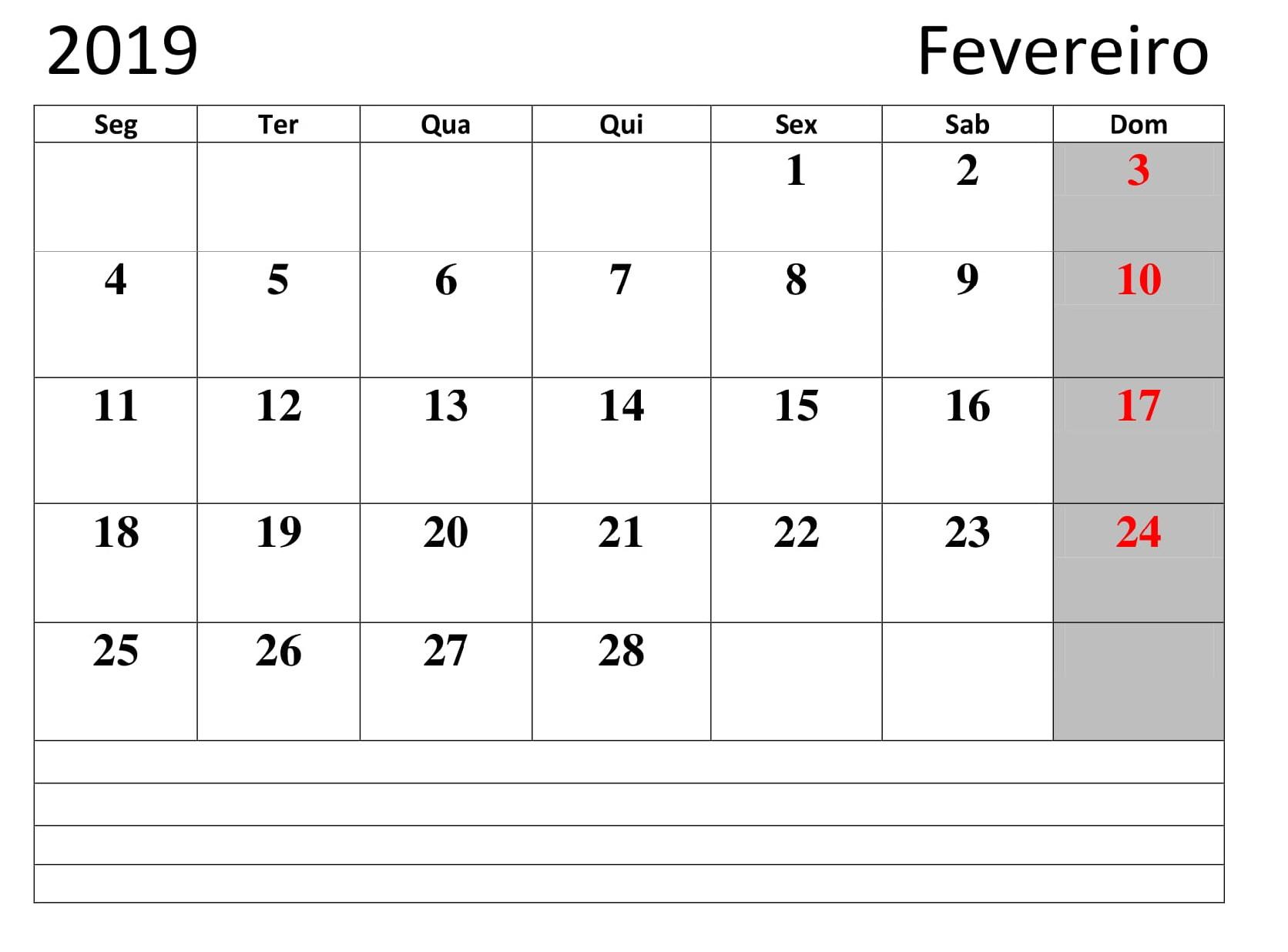 Calendário 2019 Fevereiro Mes