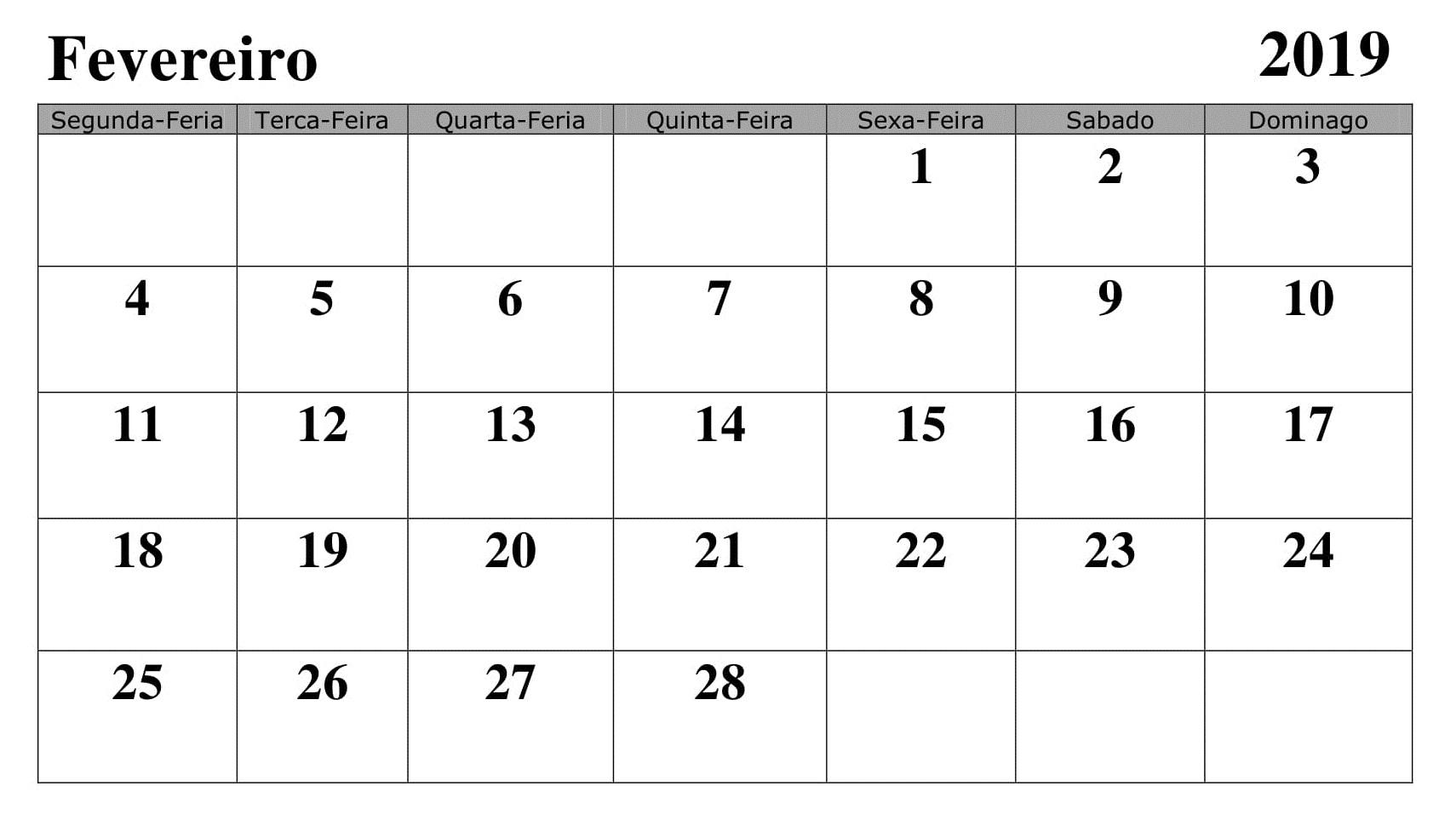 Calendário Fevereiro Excel 2019