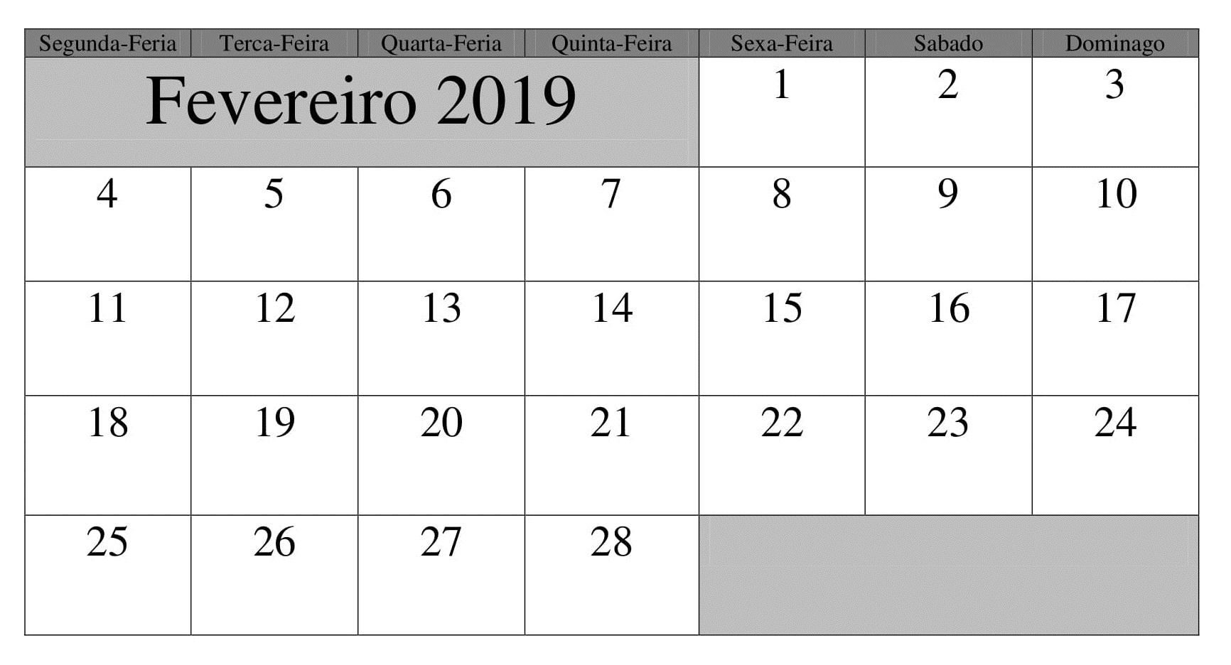 Calendário Formato Fevereiro 2019