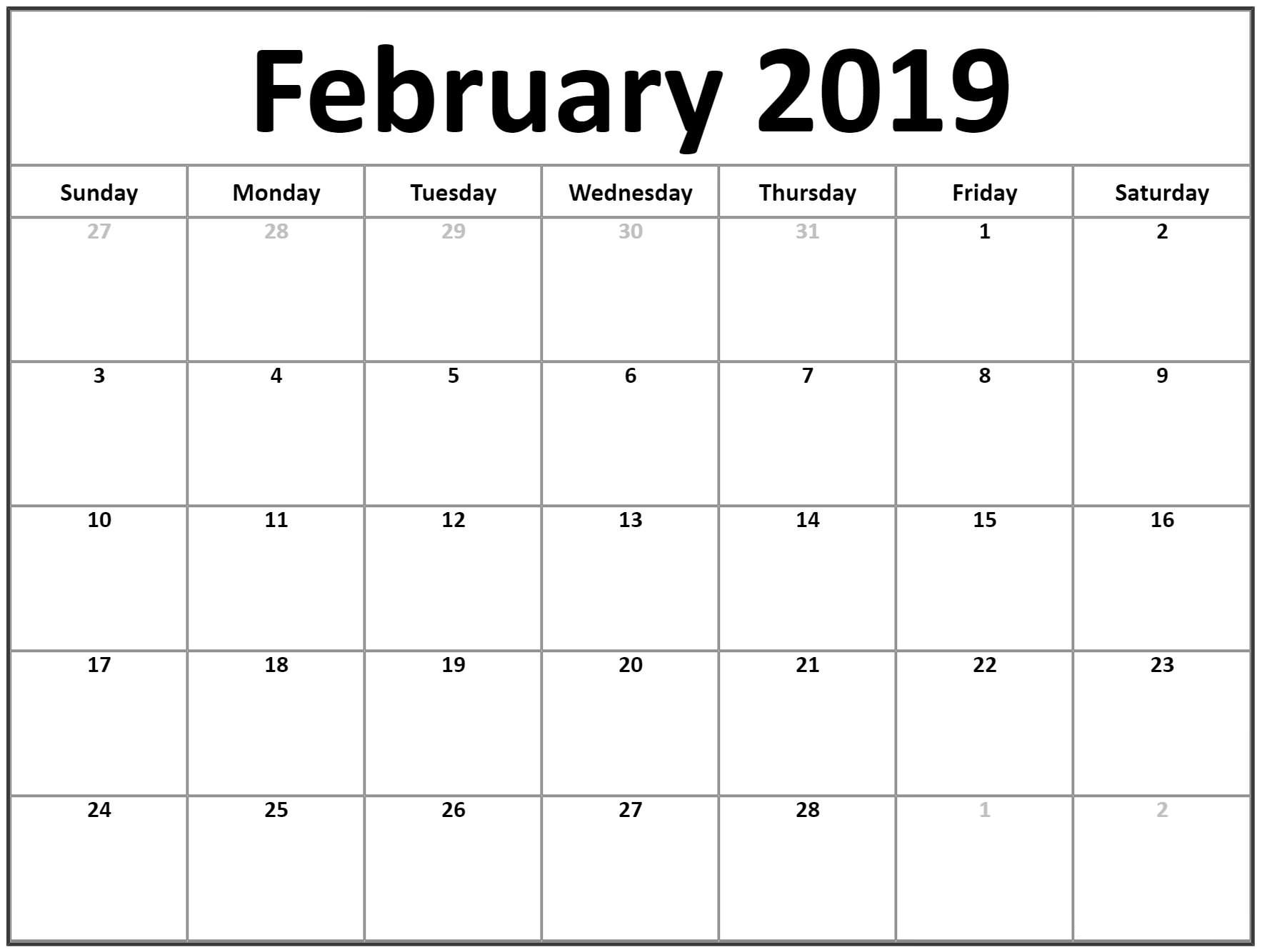 Calendar 2019 February