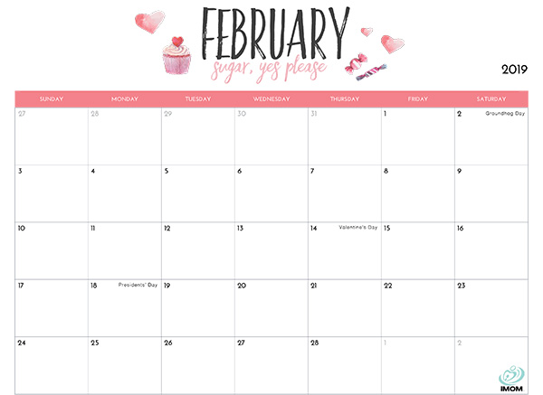 Calendar 2019 February With Holidays
