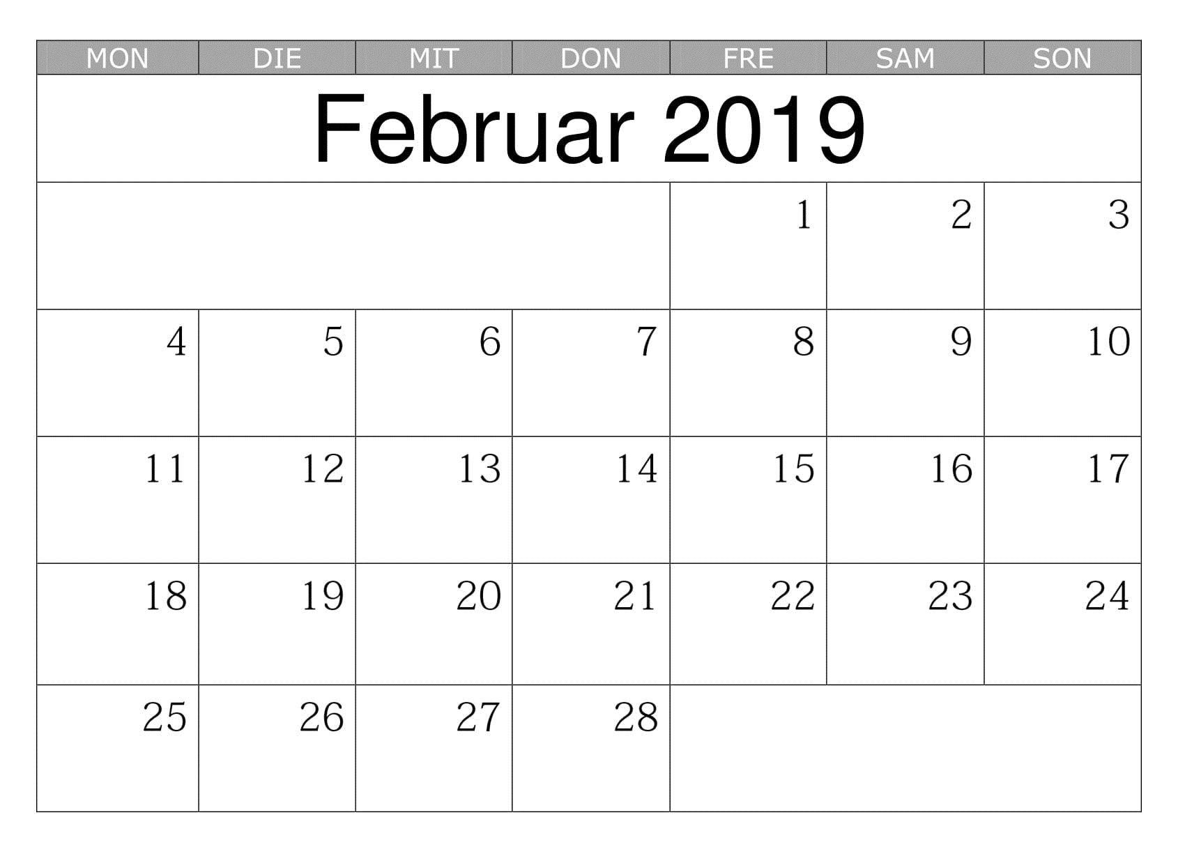 Calendar February 2019 With holidays notes
