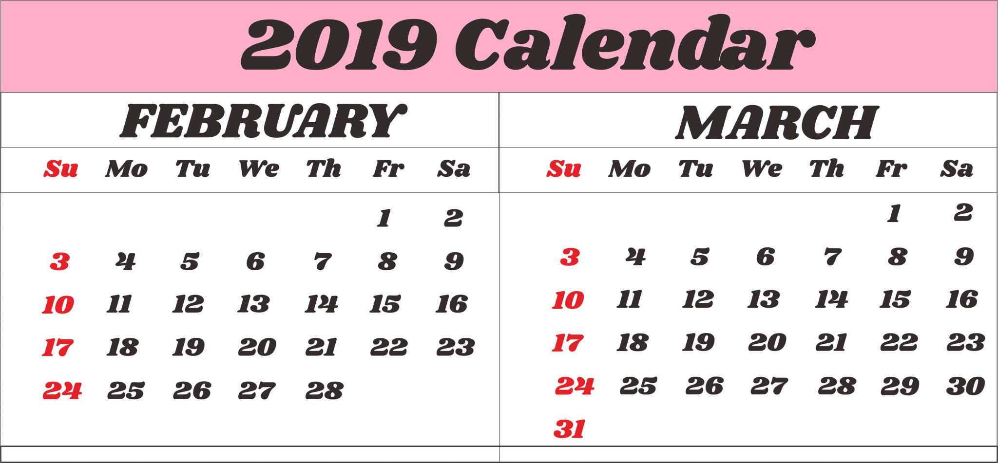 Calendar February March 2019