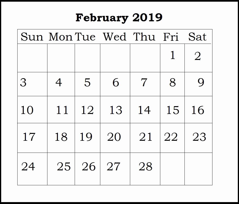 Calendar Of February 2019 Template