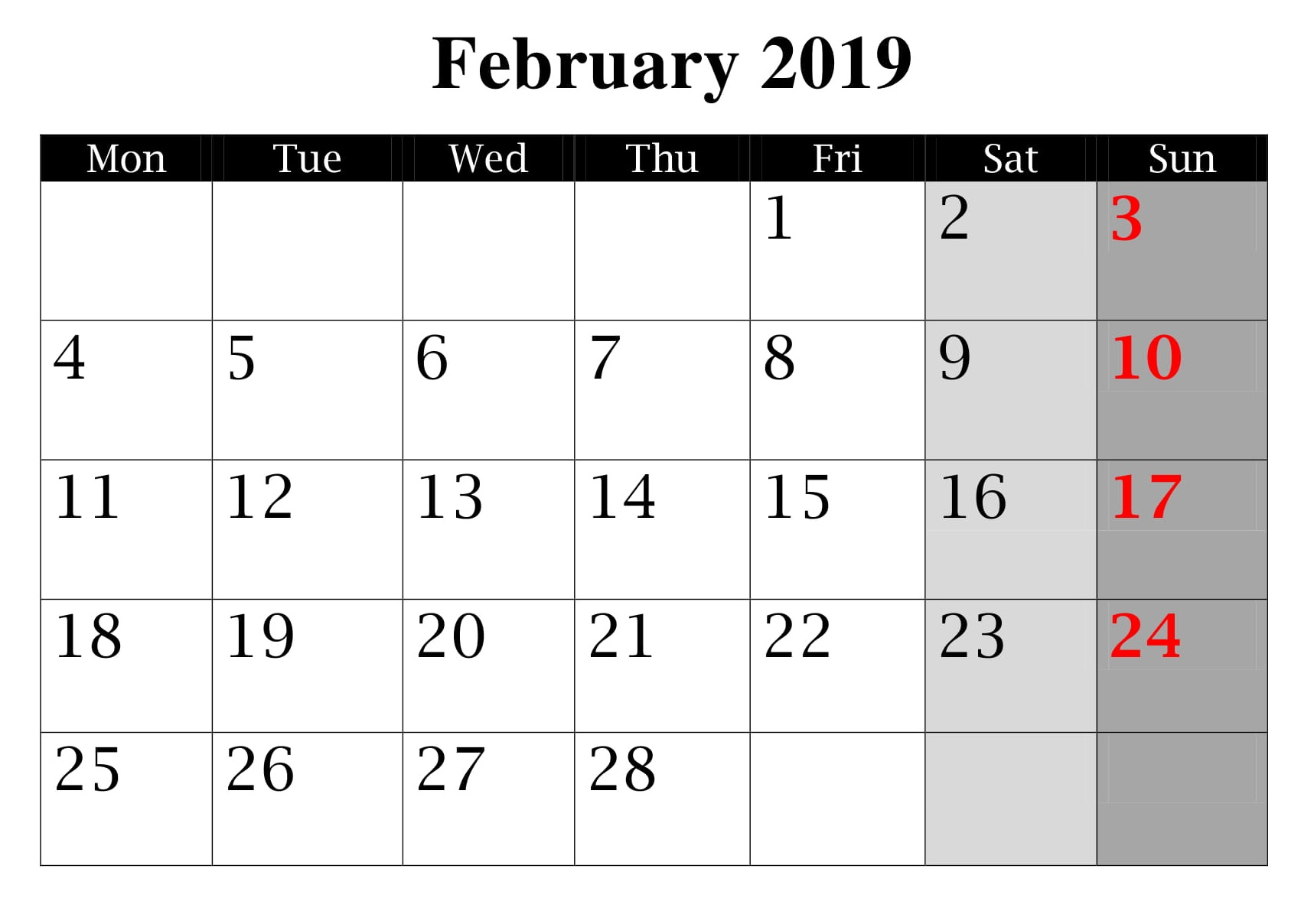 Calendar of February 2019 With Holidays