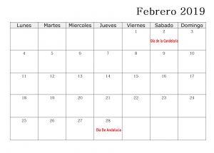 Calendario 2019 Con Cuadro Festivos Febrero