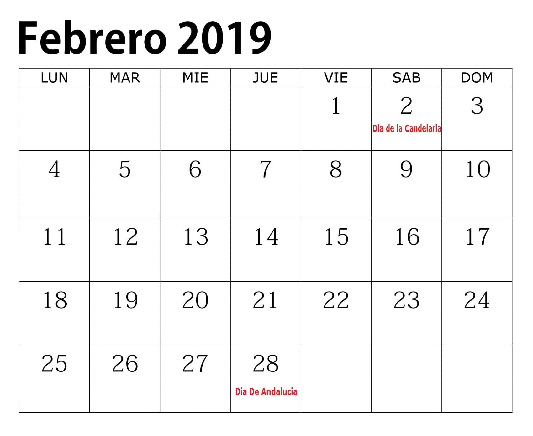 Calendario 2019 Editable Con Festivos Febrero