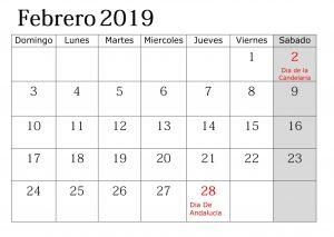Calendario 2019 Grande Con Festivos Febrero