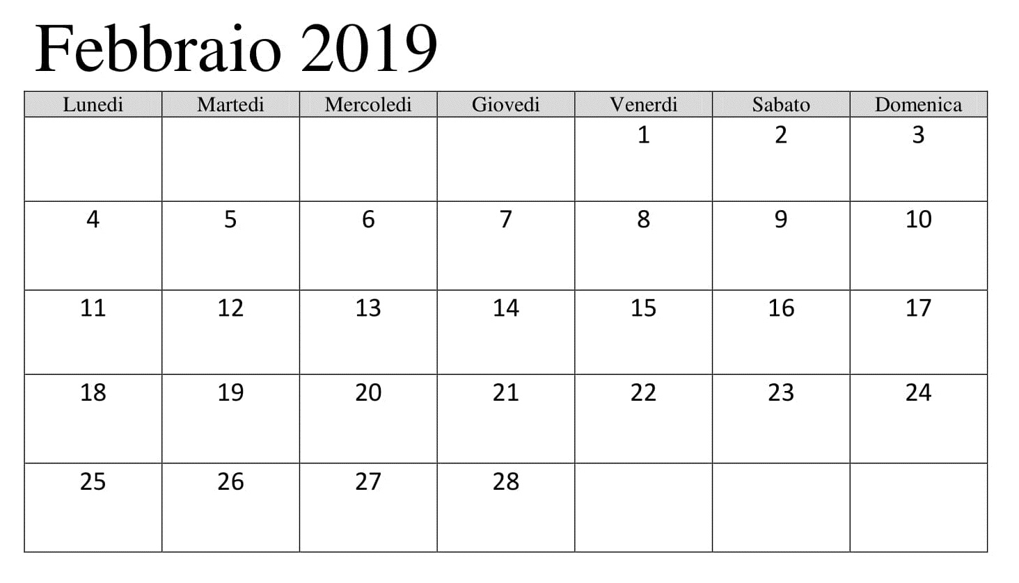 Calendario 2019 PDF Excel Febbraio