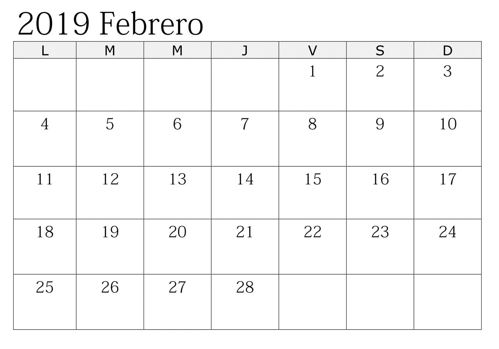 Calendario 2019 Planificador Con Festivos Febrero