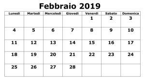 Calendario Con Note 2019 PDF Febbraio