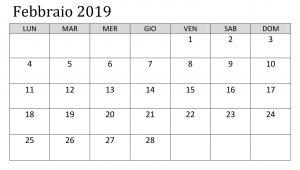 Calendario Febbraio 2019 PDF Formato