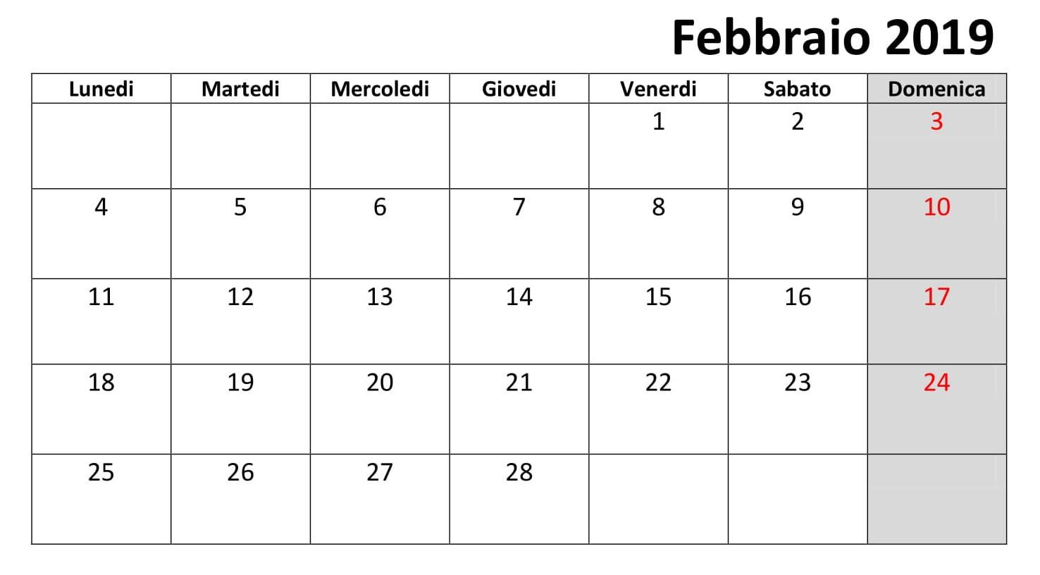 Calendario Febbraio 2019 PDF Gratuito