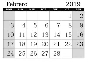 Calendario Febrero 2019 Con Festivos Diseno