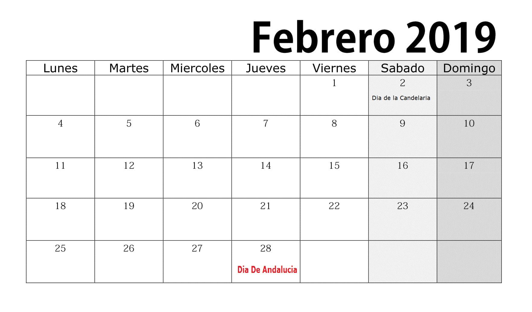 Calendario Febrero 2019 Con Festivos Estilos