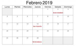 Calendario Febrero 2019 Con Festivos Negocios