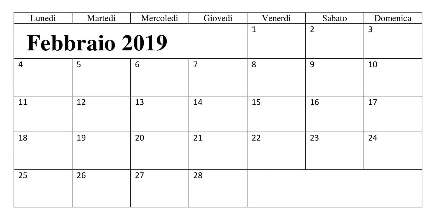 Calendario Grande titolo 2019 PDF Febbraio