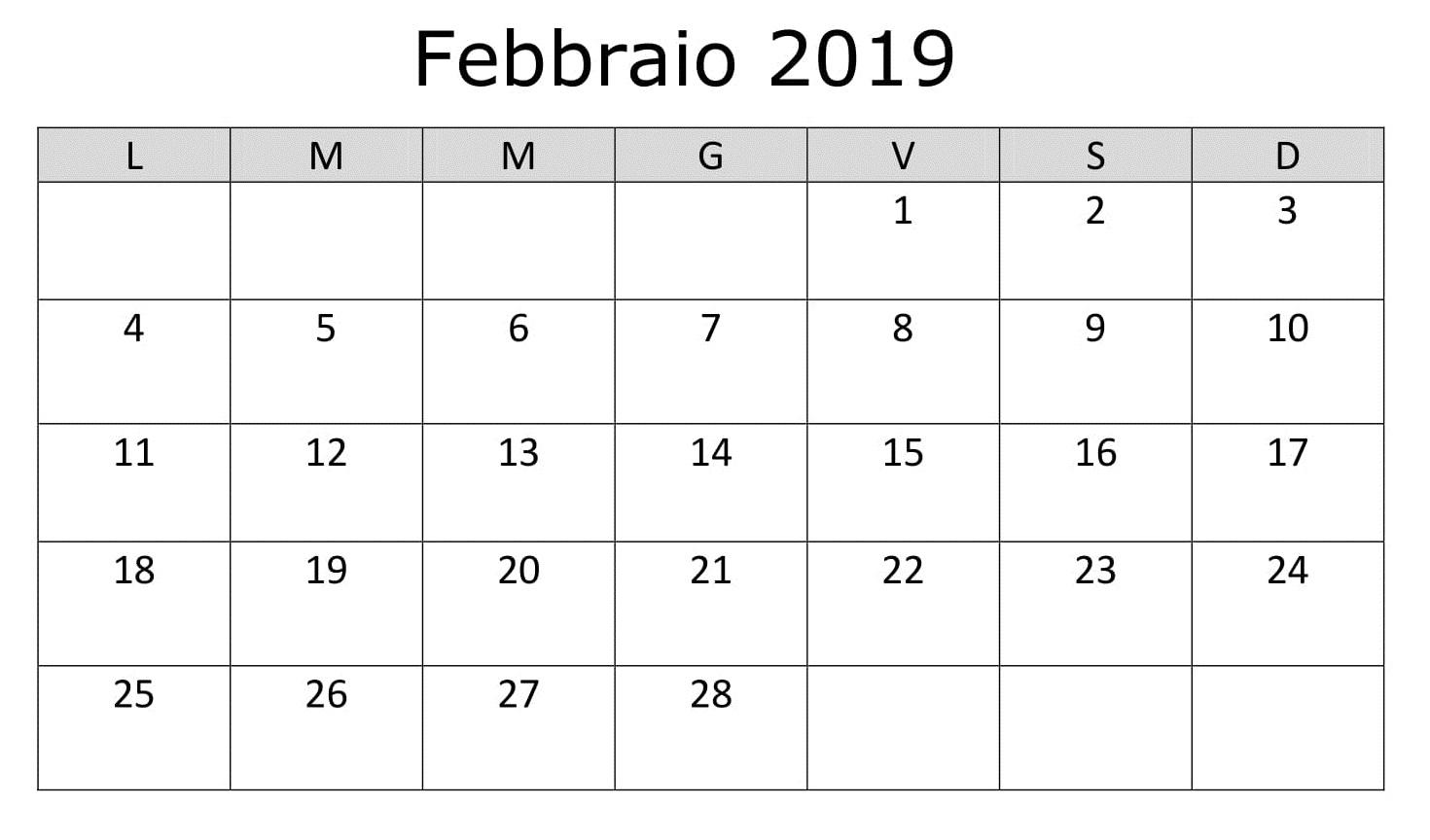 Calendario Mensile 2019 PDF Febbraio
