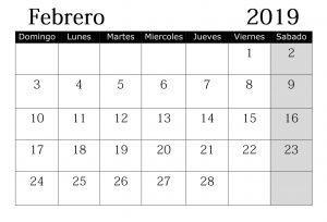 Calendario Mes 2019 Con Festivos Febrero