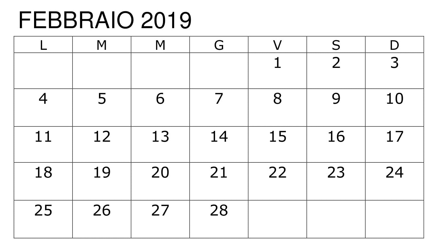 Calendario Modificabile 2019 PDF Febbraio