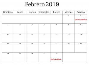 Calendario PDF Febrero 2019 Con Festivos