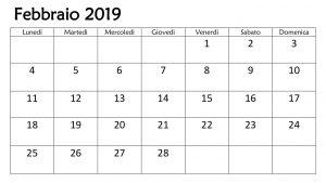 Calendario Professionale 2019 PDF Febbraio