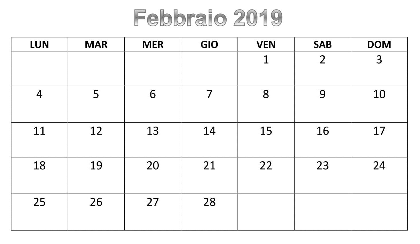 Calendario Stamabile 2019 PDF Febbraio