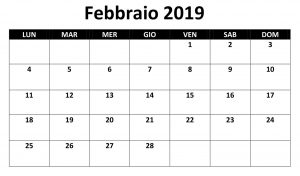 Calendario Titolo 2019 PDF Febbraio