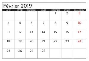 Calendrier 2019 Février Blanc