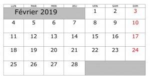 Calendrier 2019 Février Imprimable