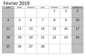Calendrier 2019 Février Mensuel