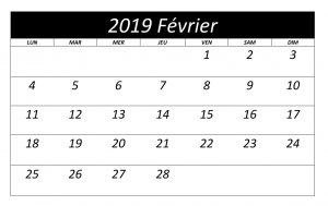 Calendrier 2019 Février Mois