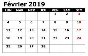 Calendrier 2019 Février Table