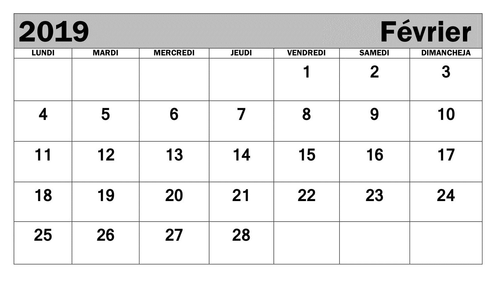 Calendrier 2019 Imprimable PDF Février