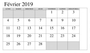 Calendrier Avec Notes 2019 PDF Février