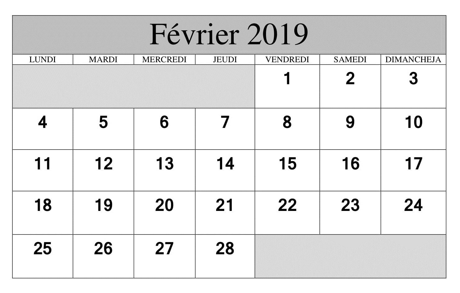 Calendrier Avec Notes Février 2019