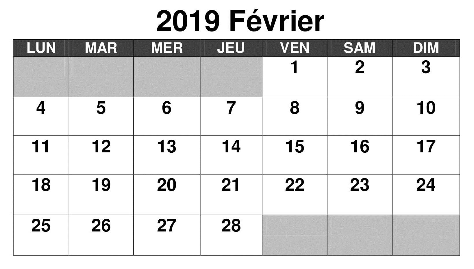 Calendrier Février 2019 PDF Modele