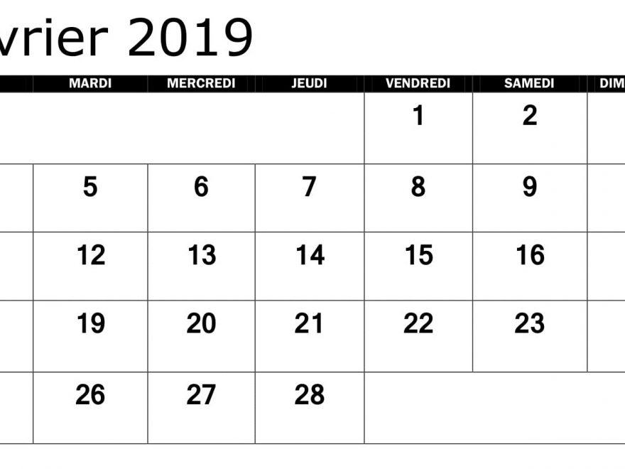 Calendrier Février 2019 PDF Mois