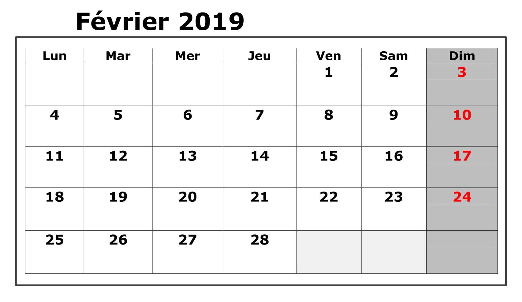 Calendrier Février 2019 PDF Vacances
