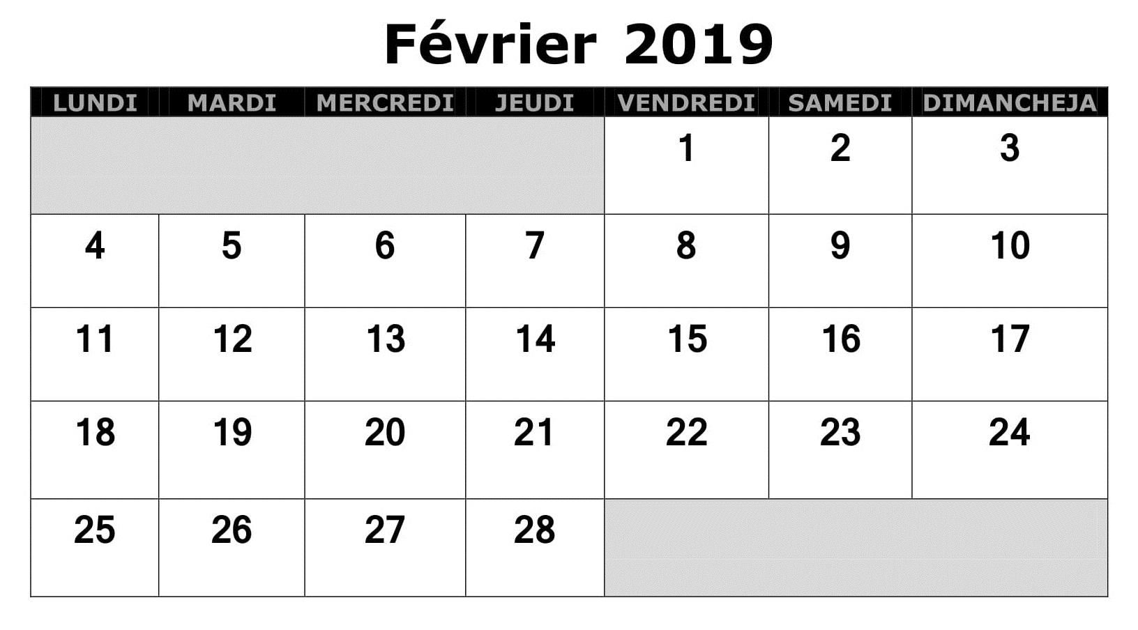 Calendrier Février PDF 2019