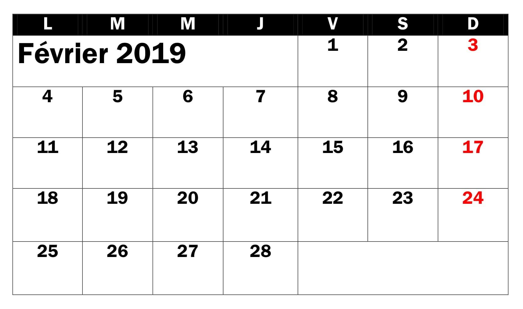 Calendrier Modele Février 2019