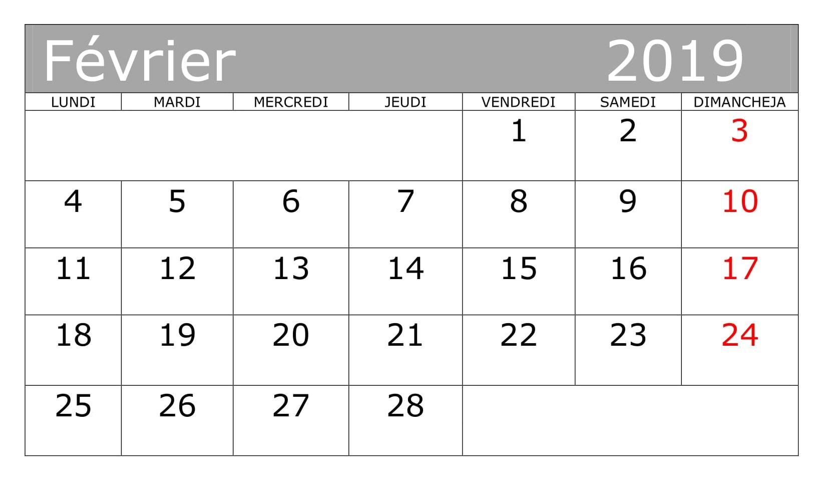 Calendrier Planificateur 2019 PDF Février
